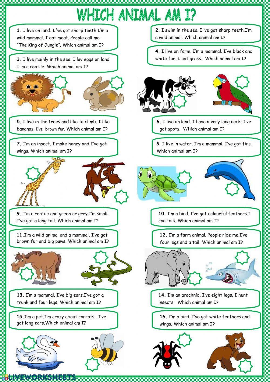 Guess The Animal Interactive Worksheet English Worksheets For Kids English Activities English Lessons