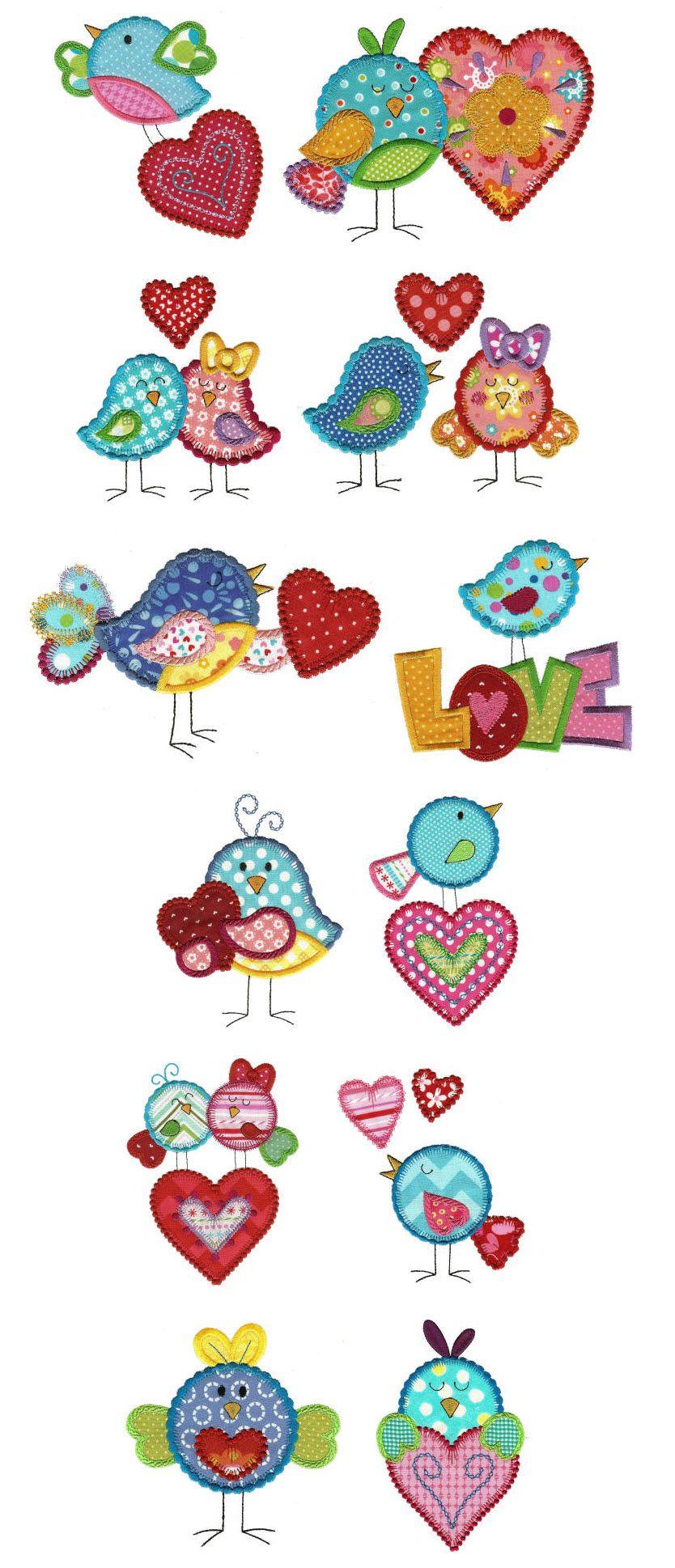 Pajaritos con corazones para aplicaciones | Diseños infantiles ...