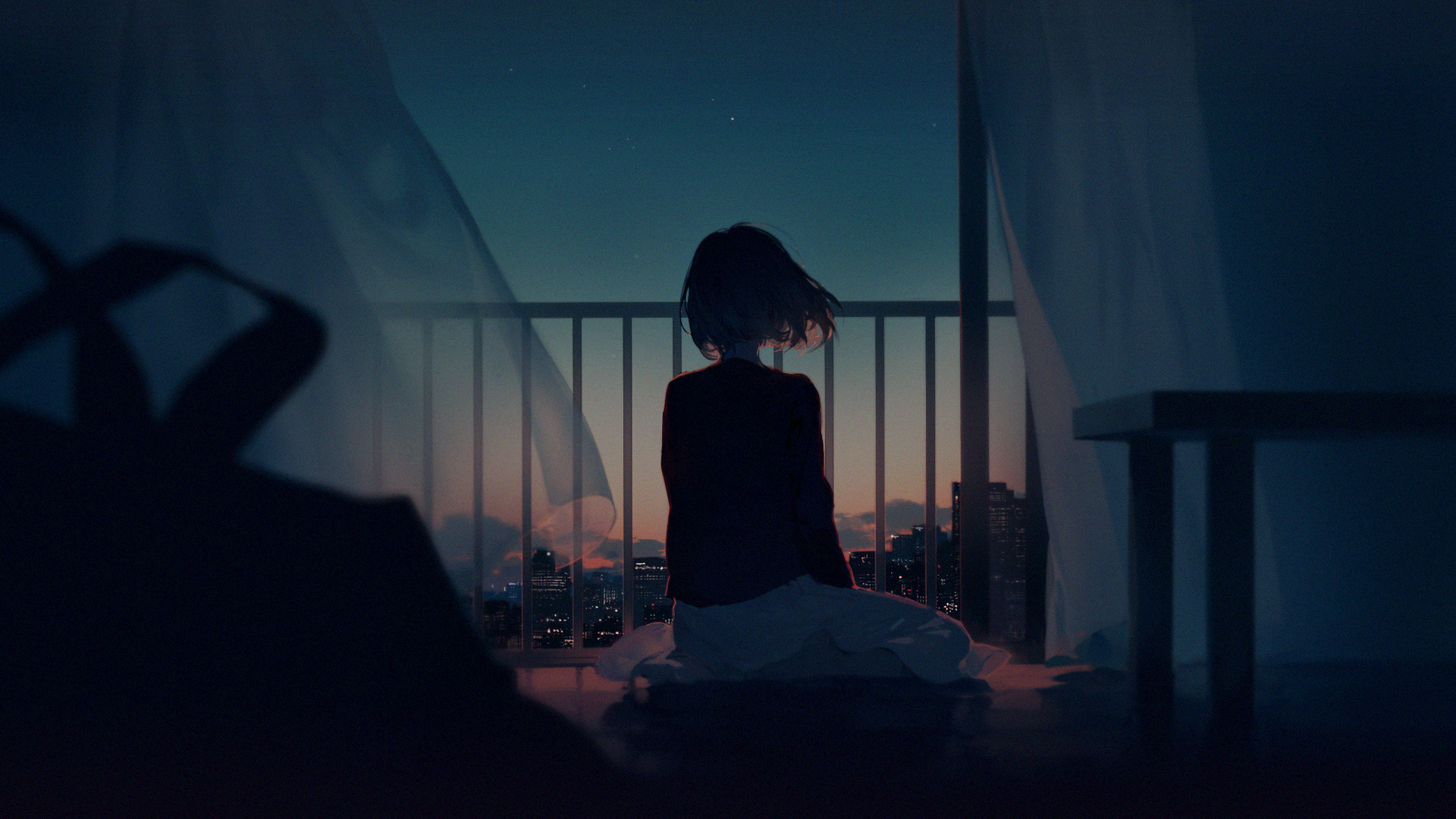 Anime Wallpaper 1920x1080 Digital Art Artwork Women Cityscape Balcony Short Hair Barefoot Anime Gi Anime Wallpaper 1920x1080 Alone Girl Anime Background