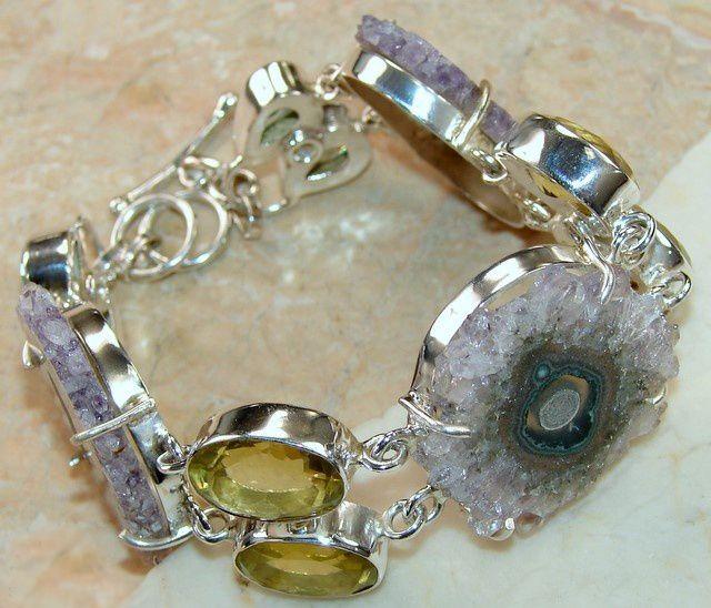 Amethyst Slice, Lemon Quartz bracelet designed and created by Sizzling Silver. Please visit  www.sizzlingsilver.com. Product code: BR-7832