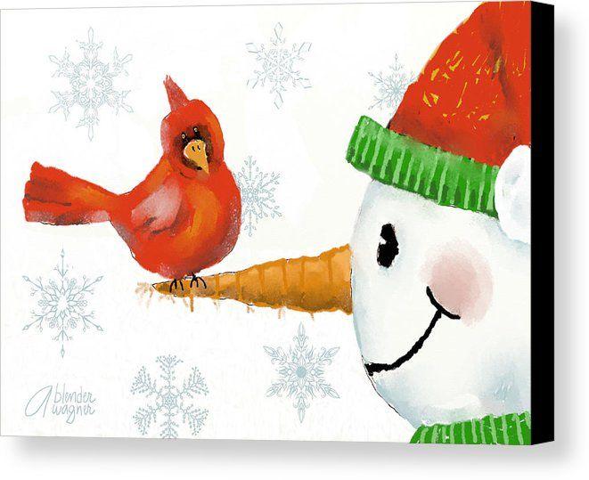Snowman And The Cardinal Canvas Print Canvas Art By Arline Wagner Christmas Canvas Christmas Paintings Whimsical Christmas
