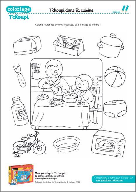coloriage le quiz de la cuisine de tchoupi tchoupi