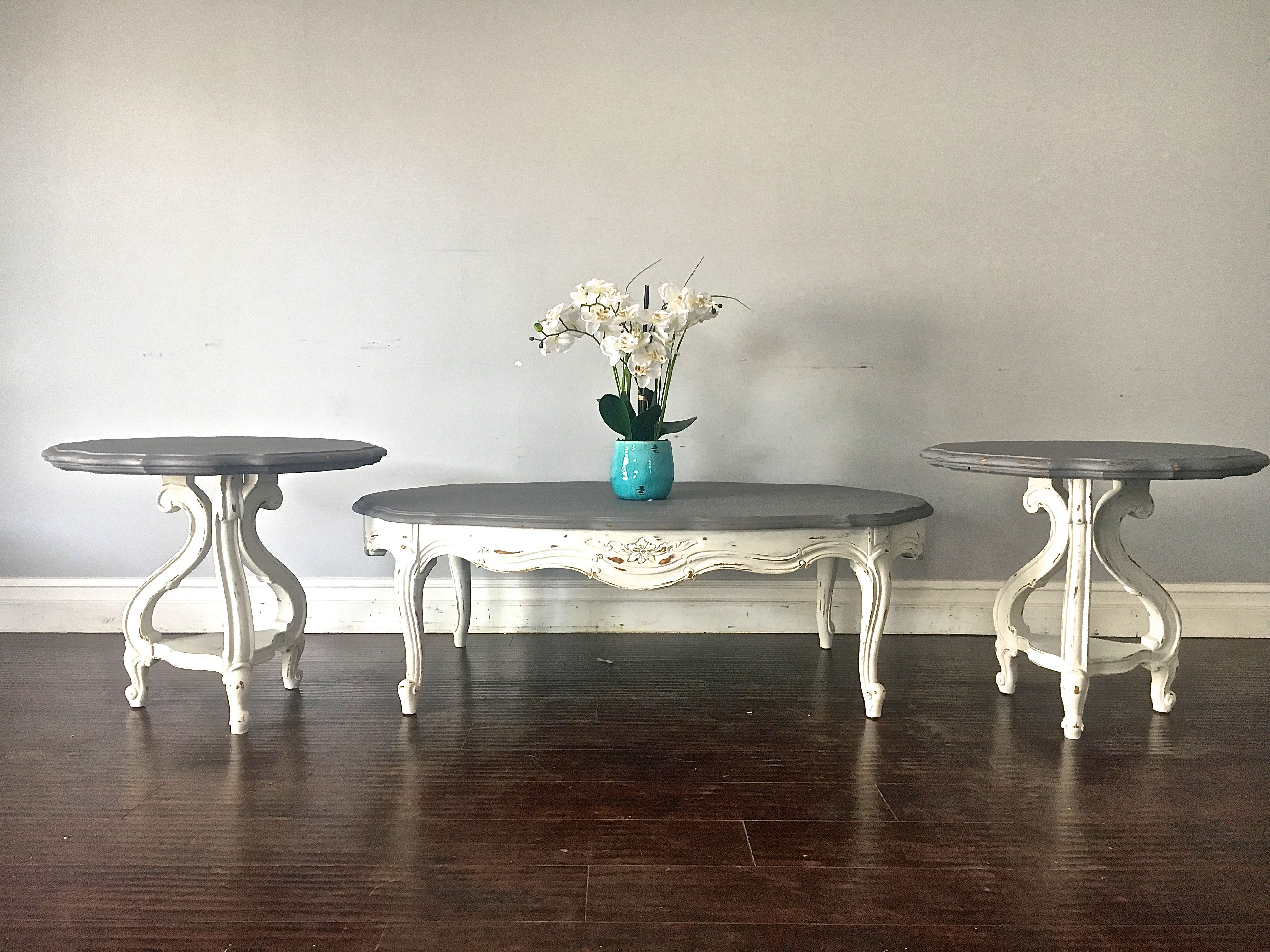 Gray white coffee table end table set 300 sold