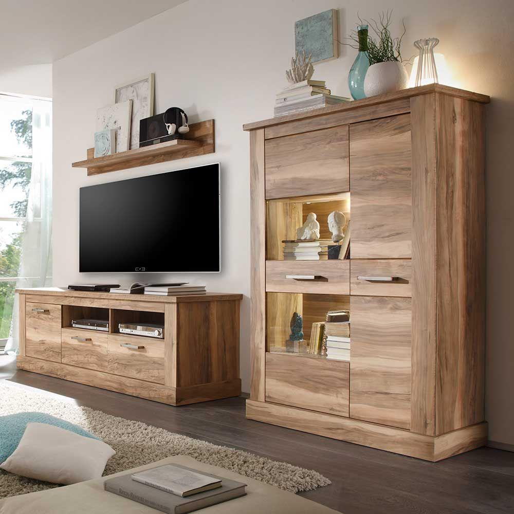 Wohnwand In Nussbaum Satin Beleuchtung (3 Teilig)  Wohnzimmerschrank,wohnwand,anbauwand,wohnwand Modern,wohnzimmer  Schrank,wohnzimmerwand,wohnzimmer ...