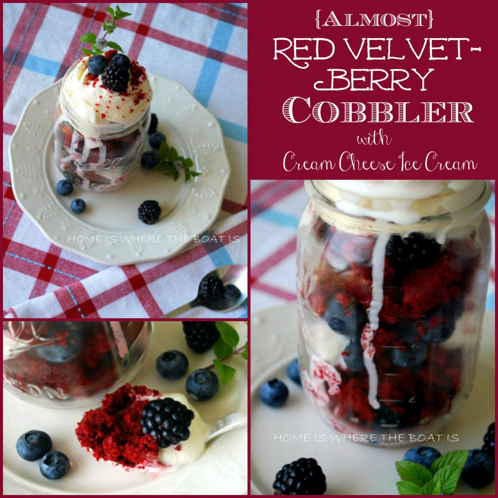 Almost Red Velvet Berry Cobbler with Cream Cheese Ice Cream | homeiswheretheboatis.net