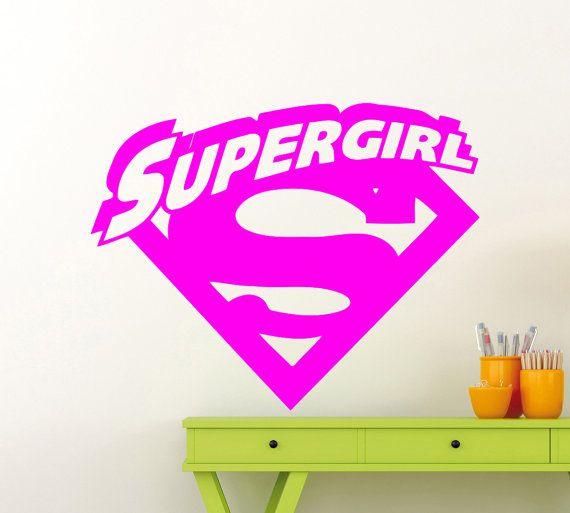 Supergirl Logo Wall Sticker Superhero DC Marvel Comics Vinyl Decal - Girl superhero wall decals
