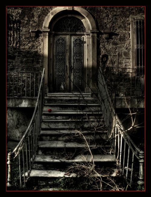 How Wonderfully Gothic And A Bit Spooky Is This Stairway The Cold Looking Pair Of Double Doors In An Old Stone Building