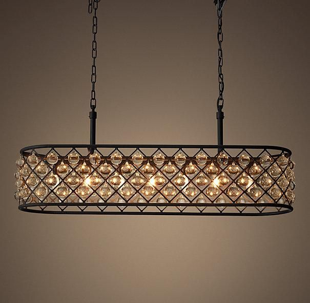 Red Rectangular Chandelier: The Spencer Lighting Collection's Crystal Glass