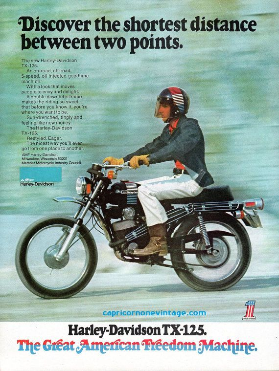 Vintage 1973 Amf Harley Davidson Tx125 Ad By Capricornoneephemera 10 00 Amf Harley Harley Davidson Motorcycles Harley