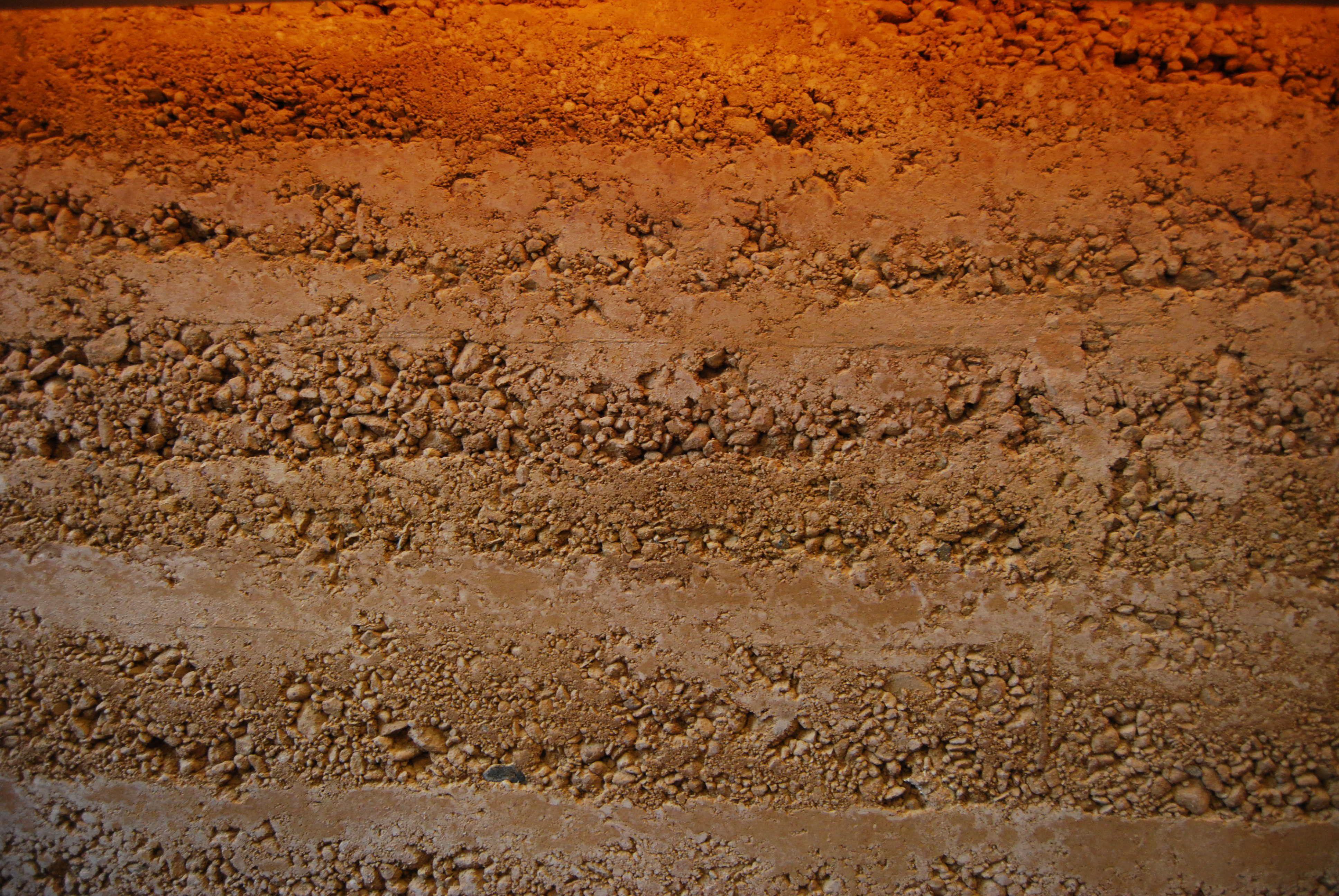 Stampflehm Oberfläche