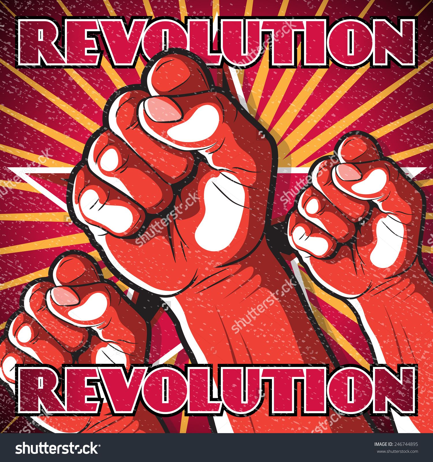 Retro Punching Fist Revolution Sign. Great illustration of Russian Propaganda style punching Fist symbolizing Revolution