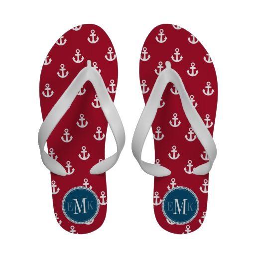 b090876b6b7 Dark Berry Red White Ship Anchors Blue Monogram Sandals