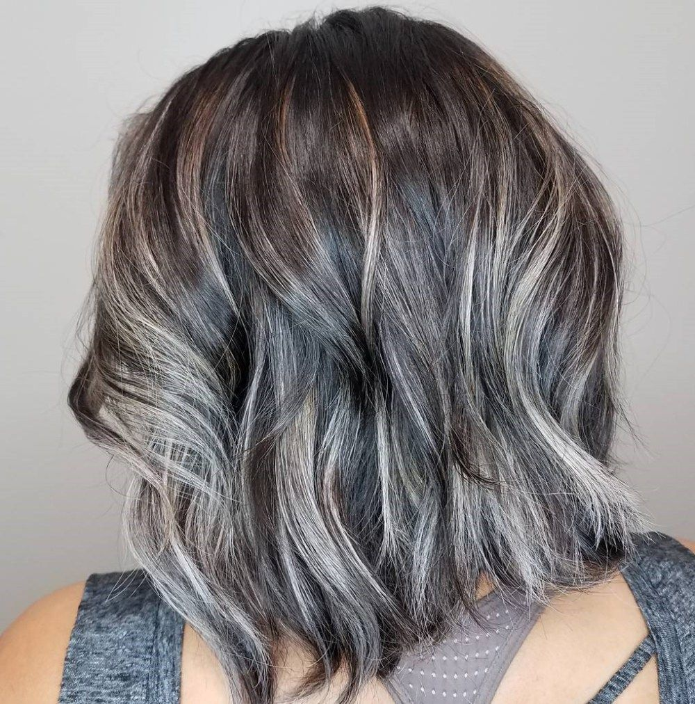 Dimensional Lob With Choppy Ends Thick Hair Styles Medium Hair Styles Grey Hair Dye