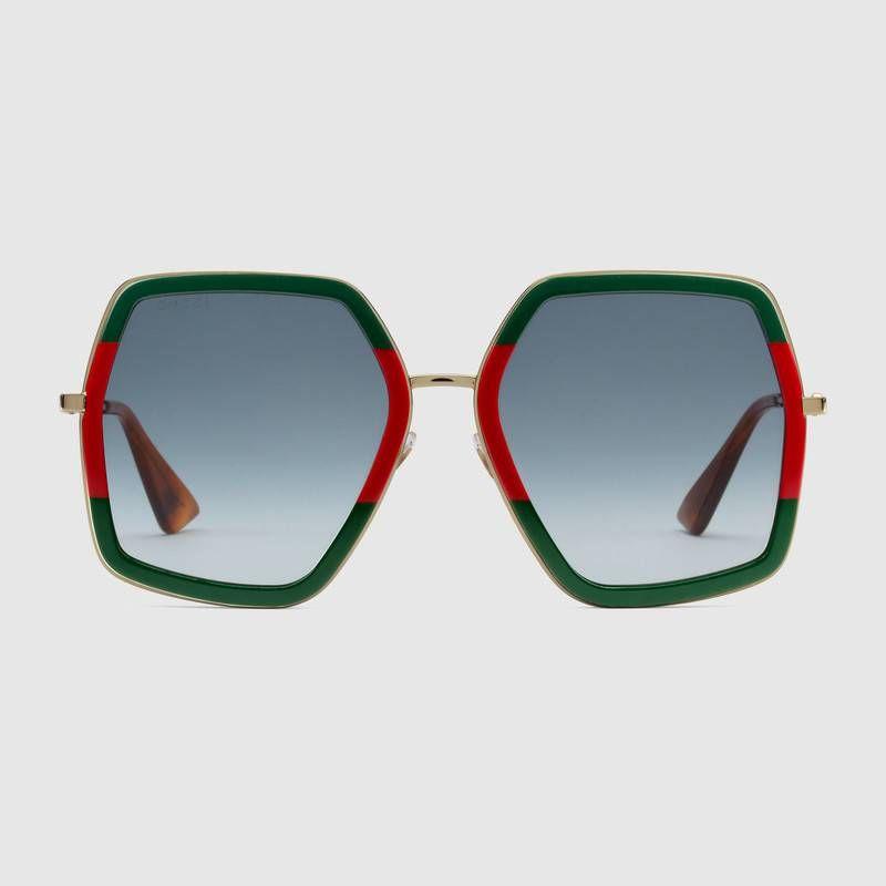 e6b6485a7b6 Oversize square-frame metal sunglasses