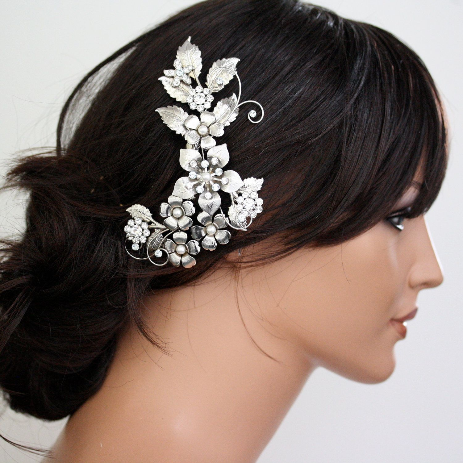 bridal head piece, flower comb, large floral headpiece, something