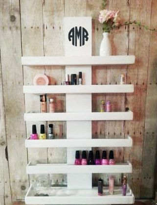Wall Mounted Makeup Shelf Makeup Organizer Nail Polish Holder Make Up Shelf Monogramed Makeup Organizer Hanging Makeup Shelf Makeup Shelves Bathroom Organisation Makeup Storage Wall