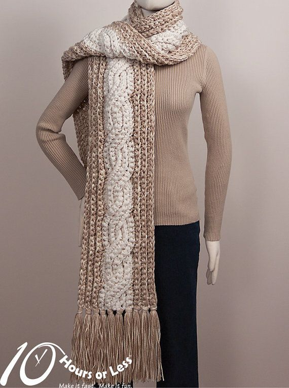 Classic Cable Crochet Scarf Pattern Digital File Download