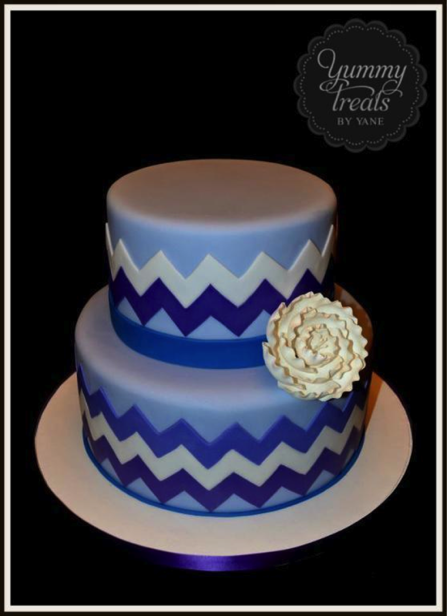 Blue Chevron Cake with White Flower Cakes Pinterest Chevron