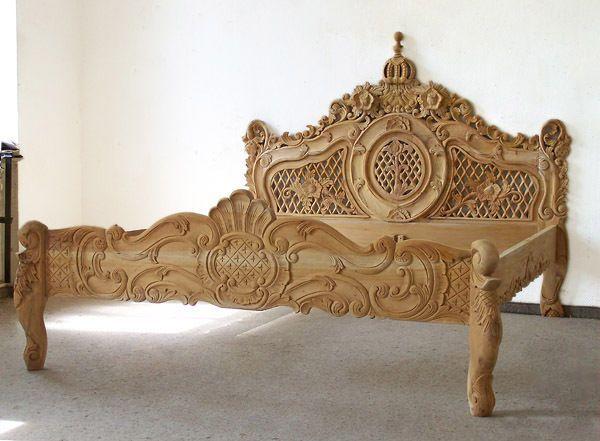 doppelbett 160 x 200 cm barock ehebett natur holz bett antik rokoko stil neu wohnideen bett. Black Bedroom Furniture Sets. Home Design Ideas