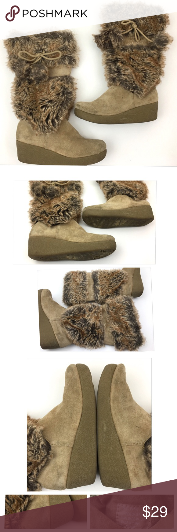 """REPORT Faux Fur Leather POM POM Wedge Boots REPORT Faux Fur Suede Leather Wedge Heel POM POM  Women's Boots Size 8.5 M Style: Effie  Pre Owned Boots, in Good Shape Some wear on Suede Minor Toe Scuffing- Shown in Photos Original Box is Not included  Heel Height:2"""" Boot Shaft from Arch:15.5"""" Circumference:6.5""""        Item comes from a pet free/smoke free clean environment please contact me for any additional questions REPORT Shoes Heeled Boots"""
