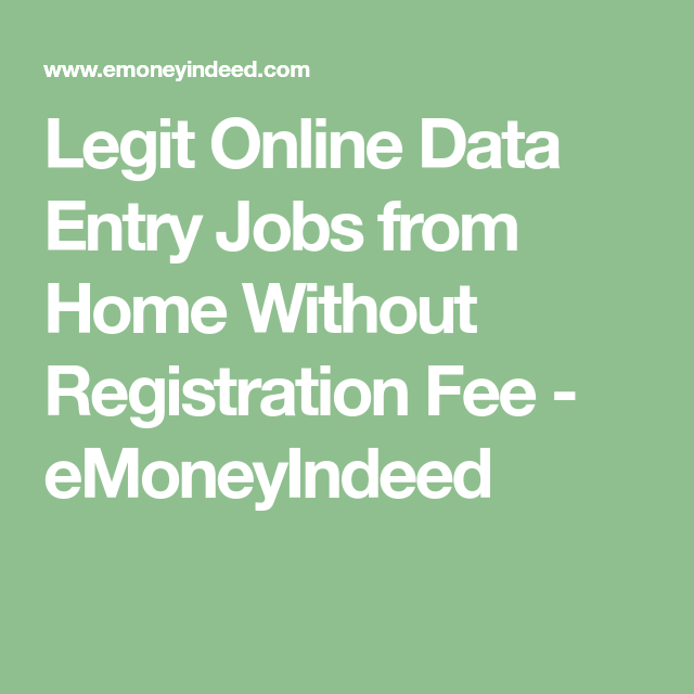 Legit Online Data Entry Jobs from Home Without