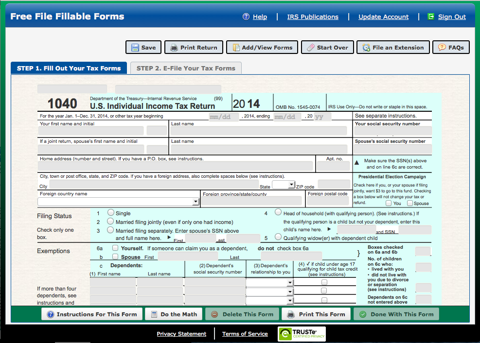 Free File Fillable Forms File Your Tax Return Online Free