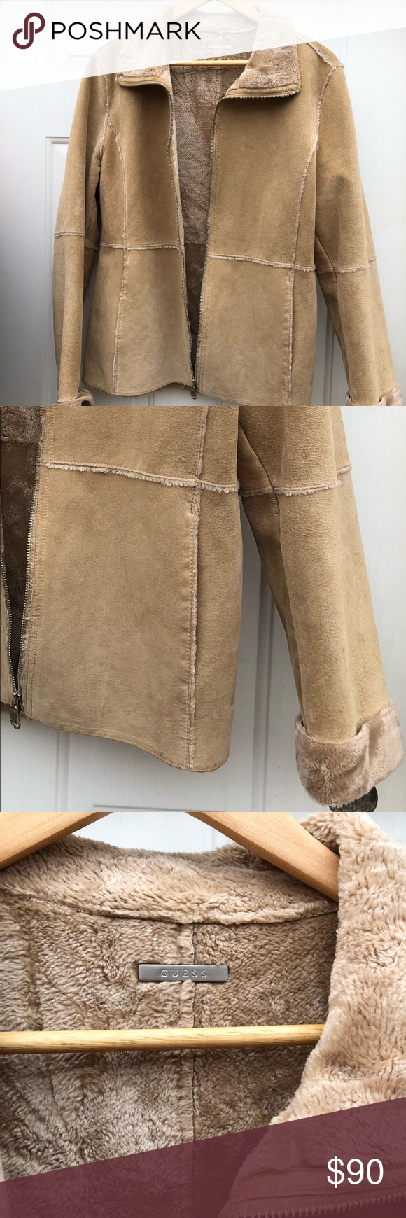 Guess 100 Leather fauxfur lined jacket Warm and comfy