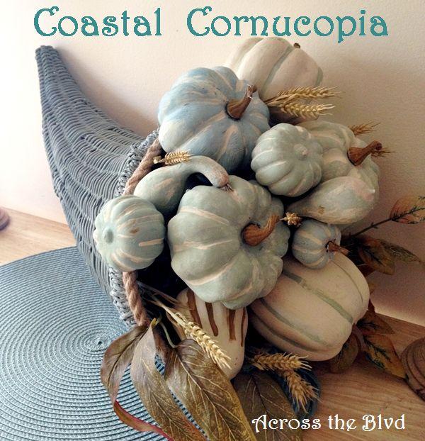 Coastal Cornucopia with Chalk Painted Pumpkins