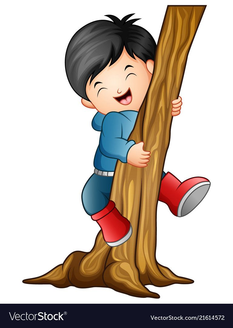 Boy Climbing The Tree Vector Image On Vectorstock Zebra Cartoon Parrot Cartoon Cartoon Lion