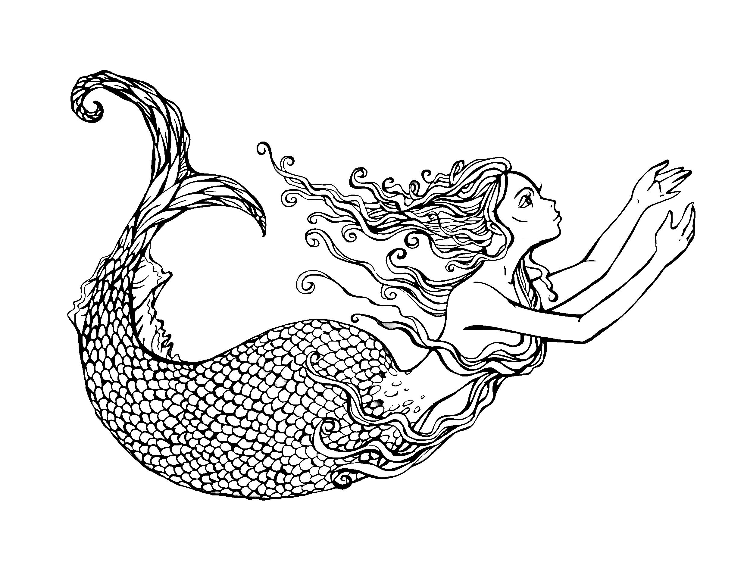 free coloring page coloring-adult-swimming-mermaid-by-lian2011