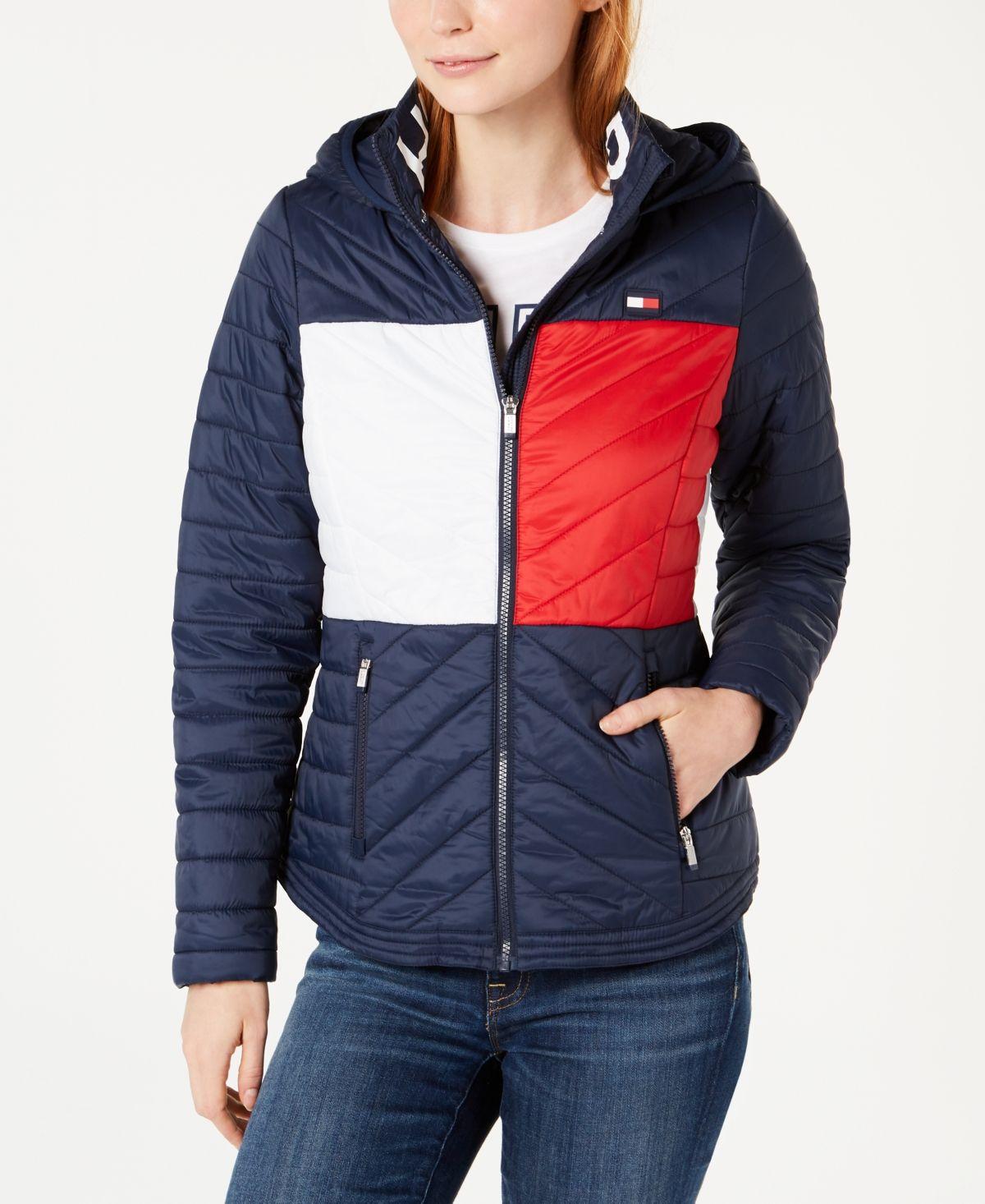 Tommy Hilfiger Sport Flag Hooded Puffer Jacket Heritage Combo Blazer Jackets For Women Leggings Are Not Pants Puffer Jacket Women [ 1466 x 1200 Pixel ]