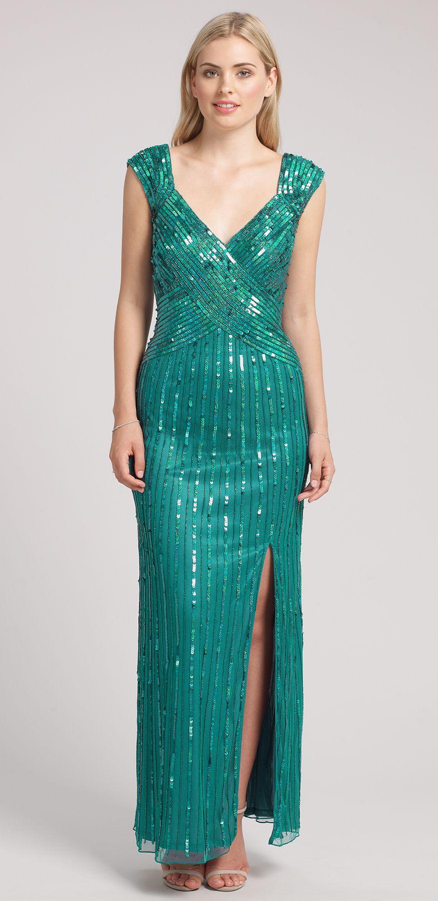 Ariella Sequin Long Dress Teal wedding reception dresses   Elegant ...