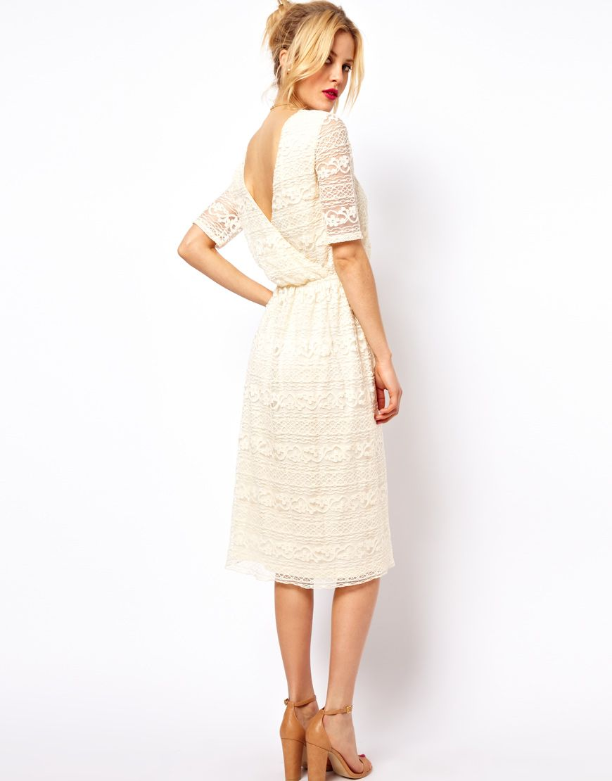 Asos midi dress in lace with wrap back mom life pinterest