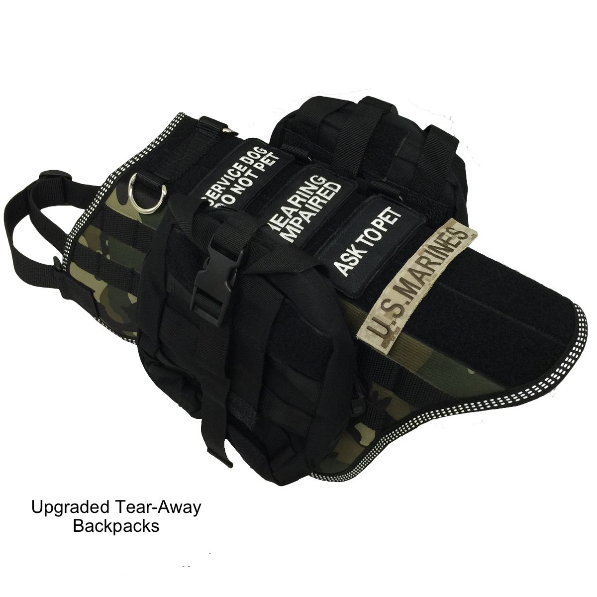 Service Dog Vest MOLLE Style Dog Harness Vest With Packs