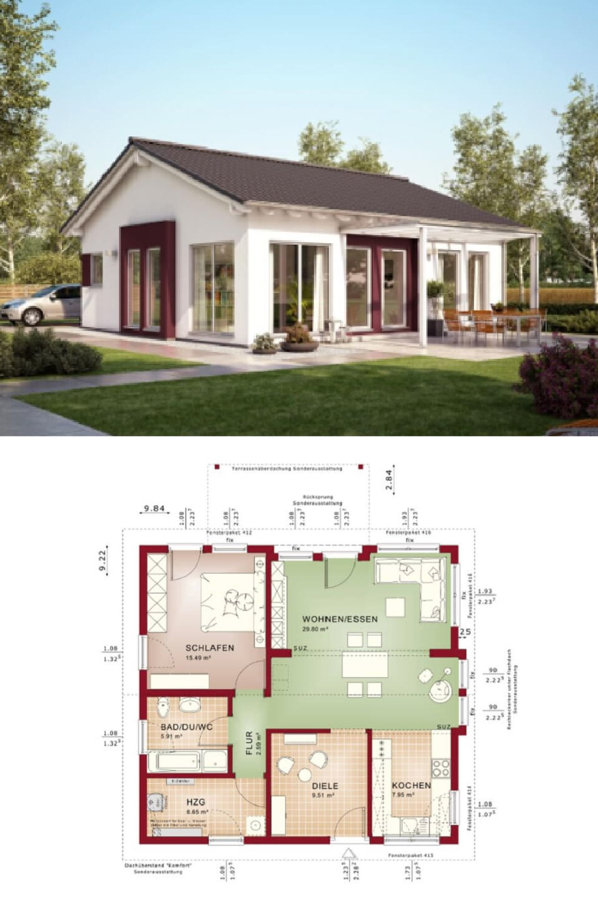 Moderner Bungalow mit Satteldach - Haus Solution 078 V6 Living Haus ...