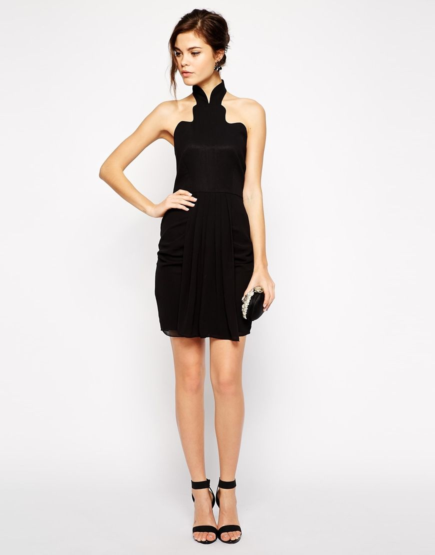 Vlabel London Trent Body Conscious Dress With High Scallop