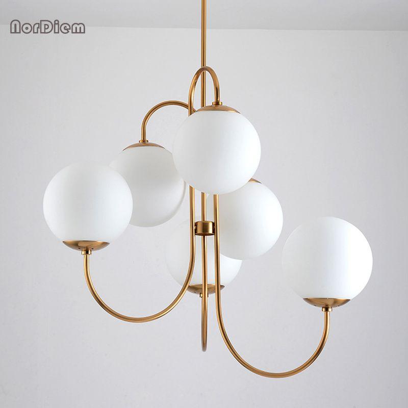 Modern Nordic Gold 6 Lights Glass Ball Hanging Pendant Light Lamp