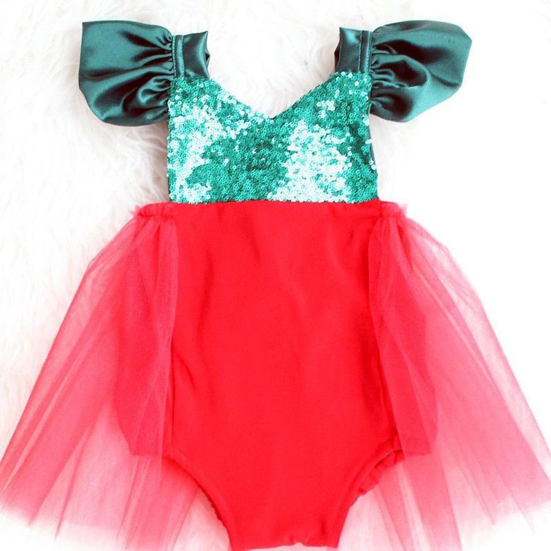 d36fb27fc28 Newborn Baby Girl Red Sequin Santa Claus Tutu Rompers Jumpsuit Christmas  Outfits