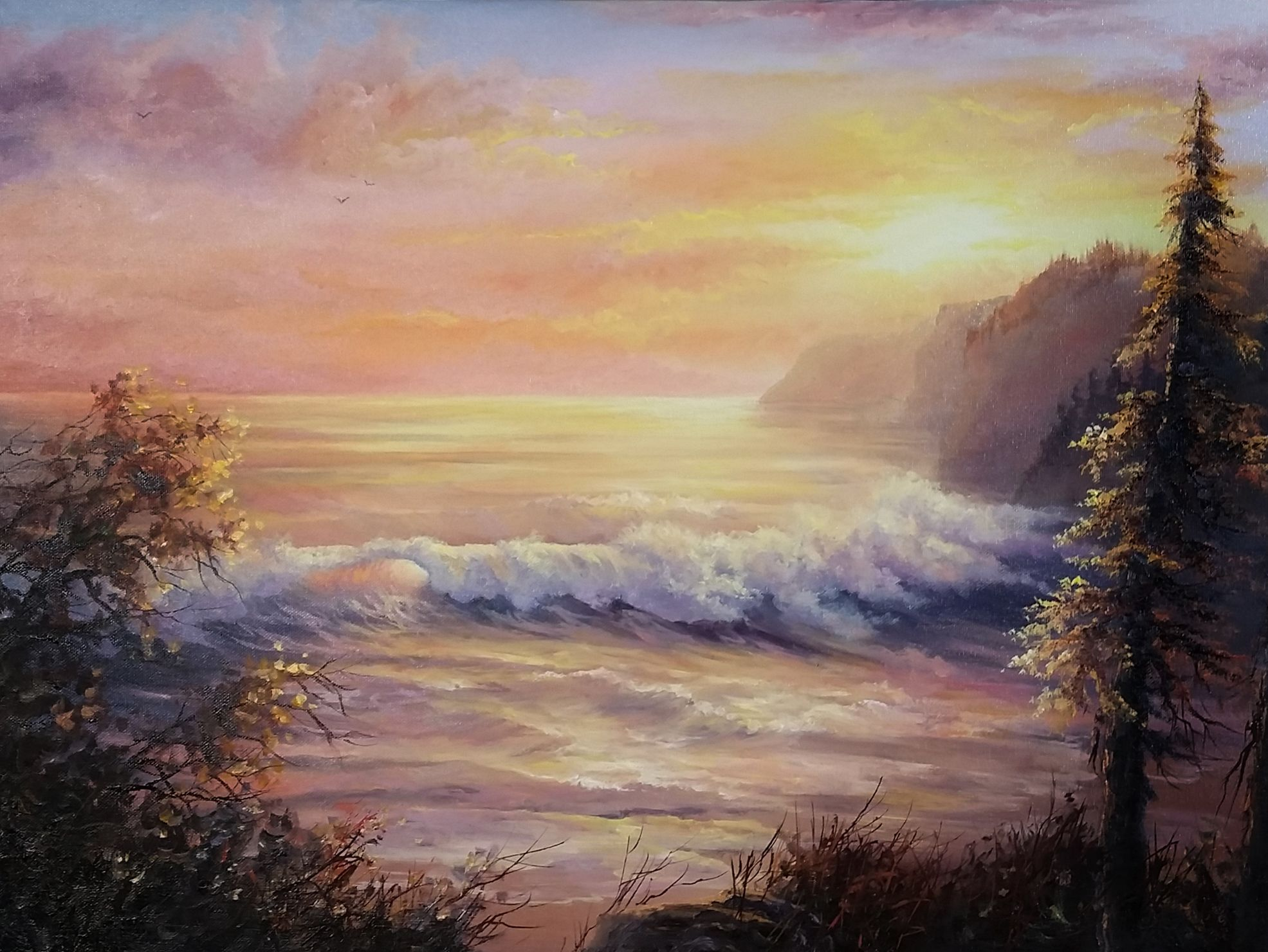 Sunset Seascape Oil Painting By Kevin Hill Watch Short Oil Painting Lessons On Youtube Kevi Kevin Hill Paintings Oil Painting Lessons Oil Painting Landscape