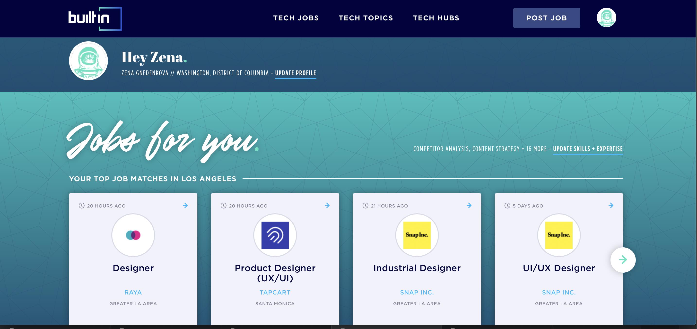 Personal Dashboard Los Angeles Design Tech Job Mood