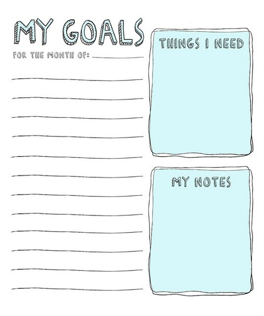 Cute little goals list, perfect for the school year or really - smart goals template