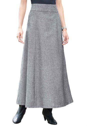 b718235c19 Jessica London Women s Plus Size Long Tweed Skirt Black White Tweed