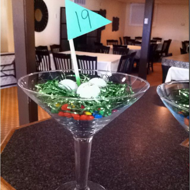 Golf Themed Party Centerpiece M And M's Tinsel And Golf