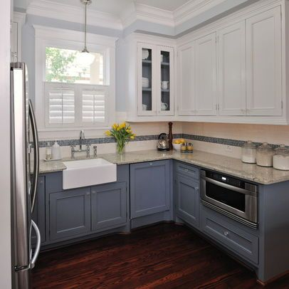 Two Color Kitchen Cabinets Design, Darker Blue Grey. Shaker Cabinet Style.