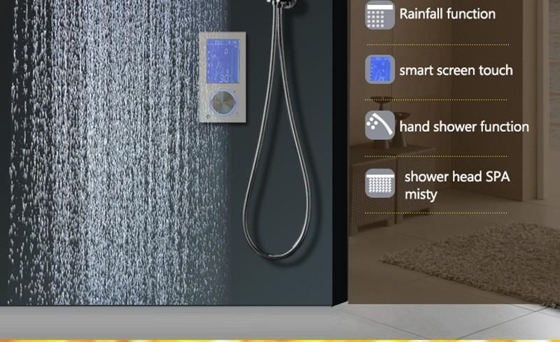 LED Intelligent Digital Display SPA Mist with Thermostatic Touch Panel Mixer #touchpanel