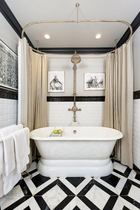 Luxurious Bathtub In White Bathroom