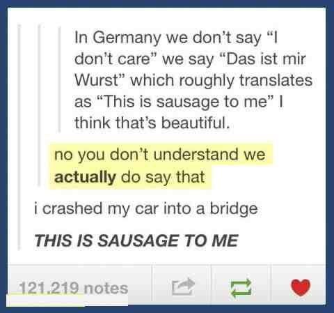 """NO. """"Das ist mir Wurst"""" means """"this is my sausage."""" And """"I don't care"""" in German is """"Das lasst mich kalt."""" or """"Es ist mir egal."""" Might be das ist mir Wurscht?"""
