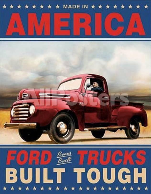 Ford Trucks Built Tough Retro Vintage Tin Sign Tin Sign Allposters Com Ford Trucks Vintage Tin Signs Trucks