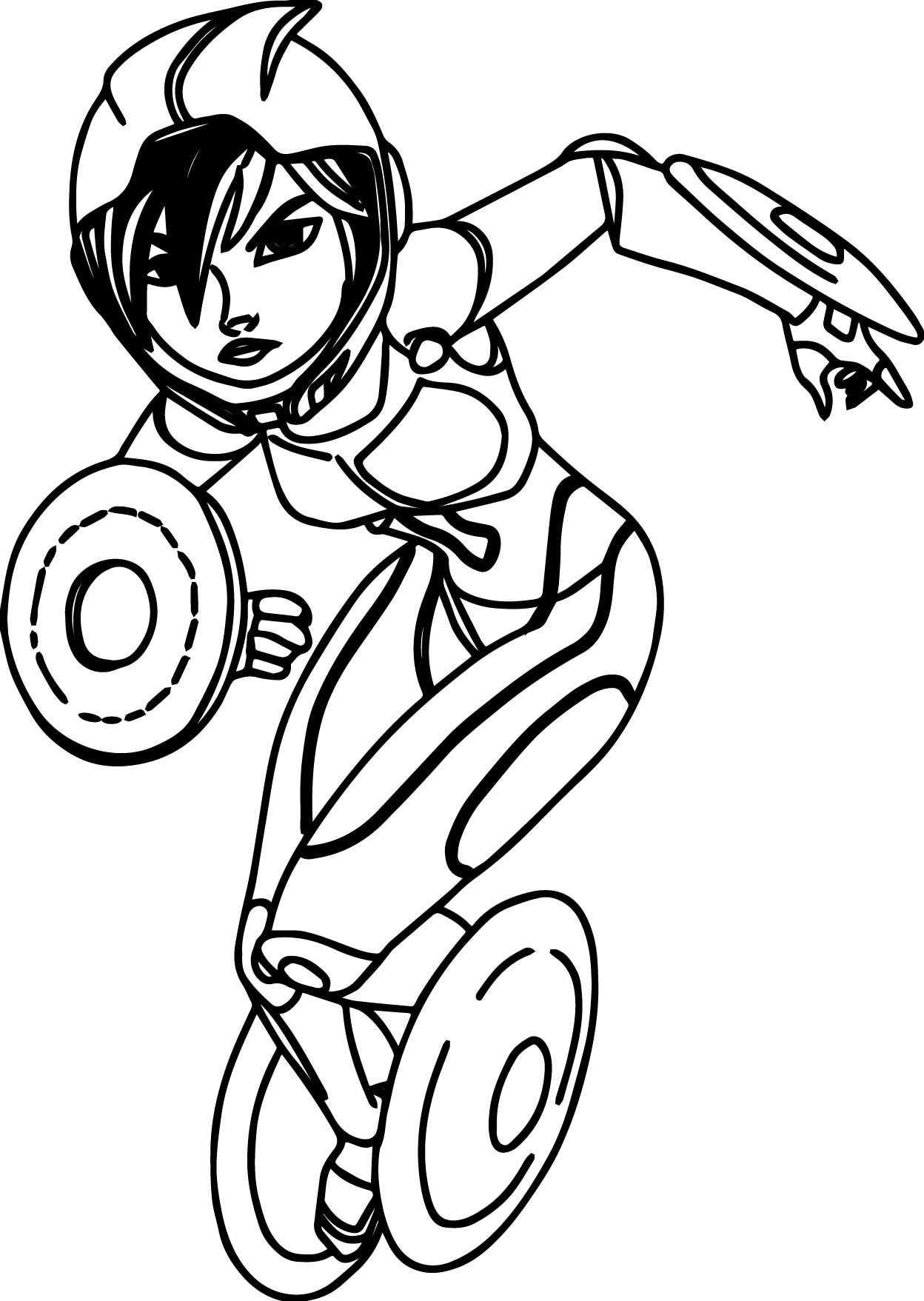 Cool Big Hero 6 Characters Gogo Tomago Coloring Page