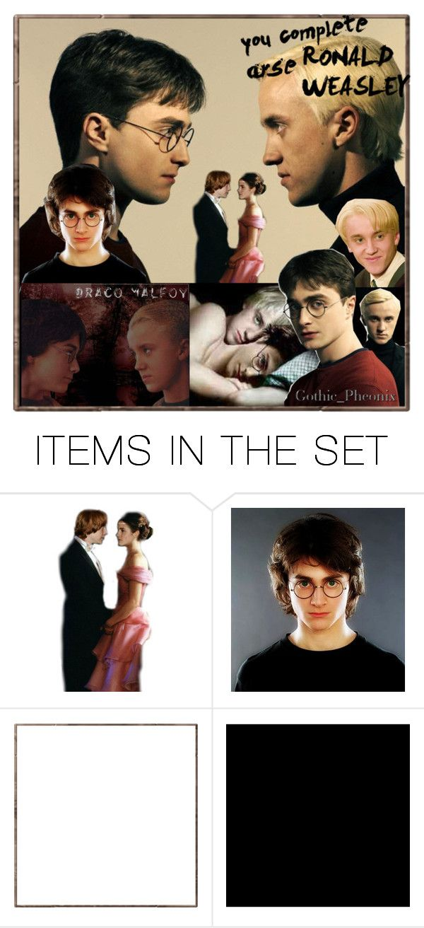"""""""413. Drarry One-shot, with Ron/Hermione"""" by gothic-pheonix ❤ liked on Polyvore featuring art, slash, draco/harry, fanfiction, harry potter slash, hermione/ron, harry potter and drarry"""